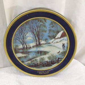 Currier & Ives Vintage Winter Moonlight Covered Ti